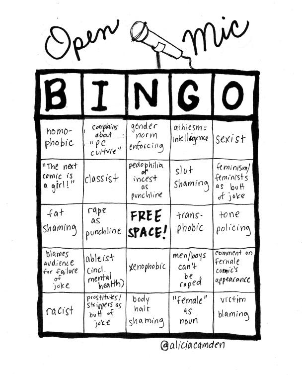 open mic bingo